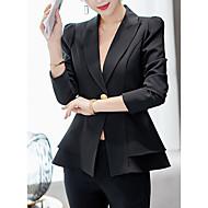 Per donna Per uscire Standard Giacca, Tinta unita Colletto Manica lunga Poliestere Rosa / Vino / Royal Blue L / XL / XXL / Taglia piccola