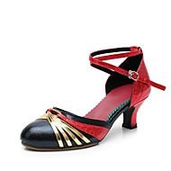 billige Kustomiserte dansesko-Dame Moderne sko Fuskelær Høye hæler Kubansk hæl Kan spesialtilpasses Dansesko Svart og Gull / Svart og Sølv / Svart / Rød