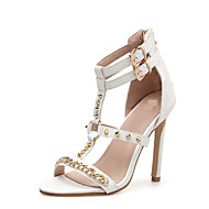 baratos Sapatos Femininos-Mulheres Couro Ecológico Primavera & Outono Formais Sandálias Salto Agulha Dedo Aberto Tachas Branco / Preto