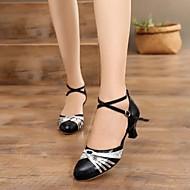 billige Moderne sko-Dame Moderne sko Fuskelær Høye hæler Kubansk hæl Kan spesialtilpasses Dansesko Svart og Gull / Svart og Sølv / Svart / Rød