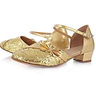 billige Moderne sko-Dame / Jente Moderne sko Lær Høye hæler Tykk hæl Dansesko Gull / Sølv