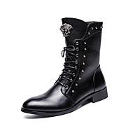 billige Herresko-Herre Militærstøvler Læder Vinter Afslappet / Britisk Støvler Hold Varm Støvletter Sort