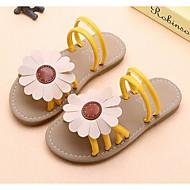 baratos Sapatos de Menina-Para Meninas Sapatos Couro Sintético Verão Solados com Luzes Sandálias Flor para Infantil Preto / Amarelo / Rosa claro