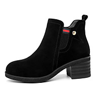 cheap -Women's Leather Shoes Suede Fall & Winter Boots Chunky Heel Round Toe Booties / Ankle Boots Black