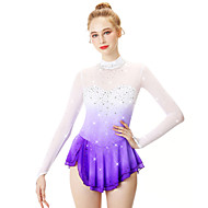 cheap Winter Sports-Figure Skating Dress Women's Girls' Ice Skating Dress Violet Halo Dyeing Spandex Stretch Yarn Lace High Elasticity Professional Competition Skating Wear Handmade Fashion Long Sleeve Ice Skating