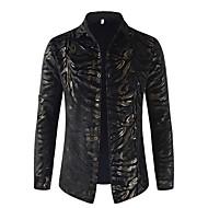 남성용 기하학 / 컬러 블럭 / 동물 프린트 - 셔츠, 사치 / 베이직 파티 / 클럽 면 블랙 XL / 긴 소매