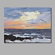 billiga Oljemålningar-Hang målad oljemålning HANDMÅLAD - Abstrakt / Landskap Samtida / Moderna Duk