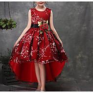 Kinder Mädchen Grundlegend Alltag Blumen Halbe Ärmel Ärmellos Baumwolle Polyester Kleid Rote