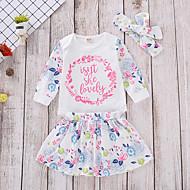 مجموعة ملابس قطن كم طويل ورد رياضي Active / أساسي للفتيات طفل صغير