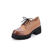 baratos Sapatos Femininos-Mulheres Couro Ecológico Primavera Verão Casual / Minimalismo Oxfords Salto de bloco Ponta Redonda Roxo Claro / Marron / Azul