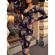 Women's Party Sexy Slim Bodycon Dress - Floral V Neck Navy Blue L XL XXL