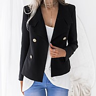 Mujer Diario Negocios Primavera & Otoño Regular Blazer, Un Color Cuello Camisero Manga Larga Poliéster Blanco / Negro L / XL / XXL / Delgado