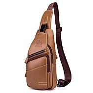 bf1400eaddf2 Men s Bags Cowhide Sling Shoulder Bag Zipper Solid Color Black   Coffee    Brown