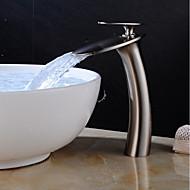 Lavandino rubinetto del bagno - Cascata Nickel spazzolato Installazione centrale Una manopola Un foroBath Taps