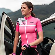 SANTIC 女性用 ショートパンツ サイクリングジャージー - ピンク 花 / 植物 バイク ジャージー トップス スポーツ エラステイン テリレン マウンテンサイクリング ロードバイク 衣類 / 伸縮性あり / レースフィット / 腋下通気孔