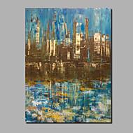 billiga Abstrakta målningar-Hang målad oljemålning HANDMÅLAD - Abstrakt / Landskap Samtida / Moderna Duk