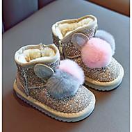 baratos Sapatos de Menina-Para Meninas Sapatos Sintéticos Inverno Primeiros Passos / Botas de Neve Botas para Bébé Dourado / Preto / Rosa claro / Botas Curtas / Ankle