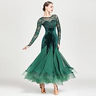 baratos -Dança de Salão Vestidos Mulheres Treino / Espetáculo Chiffon / Renda / Pelúcia Pregueado / Combinação Manga Longa Alto Vestido