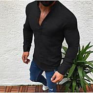สำหรับผู้ชาย เสื้อเชิร์ต พื้นฐาน คอแสตนด์ สีพื้น ขาว XL / แขนยาว