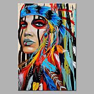 cheap People Paintings-Oil Painting Hand Painted - Abstract People Classic Modern Rolled Canvas