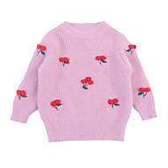 Baby Pige Ensfarvet / Geometrisk Langærmet Trøje og cardigan