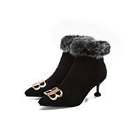 baratos Sapatos Femininos-Mulheres Couro Ecológico Outono & inverno Vintage / Minimalismo Botas Salto Sabrina Dedo Apontado Botas Curtas / Ankle Preto