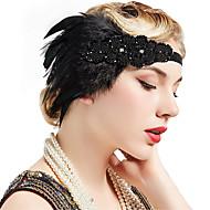 Gatsby le magnifique Rétro Années 20 Costume Femme Bandeau Garçonne Coiffure Noir Vintage Cosplay Plume Soirée Fête scolaire Sans Manches