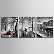Peinture à l'huile Hang-peint Peint à la main - Abstrait Moderne Inclure cadre intérieur / Trois Panneaux / Toile tendue
