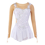 cheap -Figure Skating Dress Women's / Girls' Ice Skating Dress White Flower Spandex, Mesh, Lace High Elasticity Training / Competition Skating Wear Breathable, Handmade Flower / Dumb Light Ice Skating