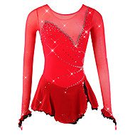 cheap -Figure Skating Dress Women's / Girls' Ice Skating Dress Red Spandex, Mesh High Elasticity Competition Skating Wear Breathable, Handmade Novelty / Fashion / Dumb Light Long Sleeve Ice Skating / Figure