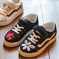 baratos Sapatos de Menina-Para Meninas Sapatos Couro Sintético Primavera & Outono Conforto Tênis Flor / Velcro para Infantil / Adolescente Branco / Preto