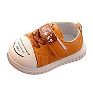 baratos Sapatos de Menina-Para Meninos / Para Meninas Sapatos Couro Ecológico Primavera & Outono Conforto / Primeiros Passos Rasos Cadarço / Velcro para Bebê Bege / Amarelo / Rosa claro