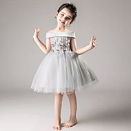 A-Line / Princess Medium Length Flower Girl Dress - Tulle Sleeveless Off Shoulder with Appliques / Tiered by LAN TING Express