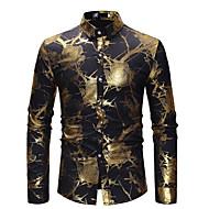 남성용 플로럴 프린트 - 셔츠, 사치 / 베이직 파티 / 클럽 면 블랙 M / 긴 소매