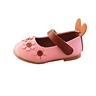 baratos Sapatos de Menina-Para Meninas Sapatos Couro Ecológico Primavera & Outono Conforto / Bailarina Rasos Flor / Colchete para Bébé Bege / Rosa claro