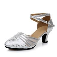 billige Moderne sko-Dame Moderne sko Fuskelær Høye hæler Kubansk hæl Kan spesialtilpasses Dansesko Gull / Sølv / Rød