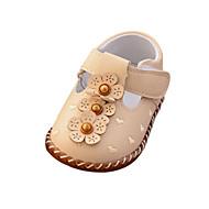 baratos Sapatos de Menina-Para Meninas Sapatos Couro Ecológico Primavera & Outono Conforto / Primeiros Passos Rasos Presilha / Flor / Velcro para Bebê Bege / Rosa claro