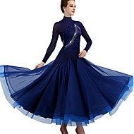 cheap -Ballroom Dance Dresses Women's Training Nylon / Organza / Tulle Crystals / Rhinestones Long Sleeve High Dress