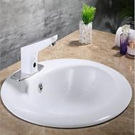 Χαμηλού Κόστους Βρύσες Νιπτήρα Μπάνιου-Μπάνιο βρύση νεροχύτη - Αισθητήρας Χρώμιο Ελεύθερη όρθια θέση Hands free μια τρύπα