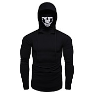 Men's Sports Street chic Long Sleeve Hoodie - Skull Ripped Hooded Black XL / Fall