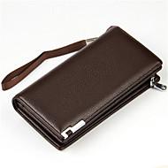 baratos Clutches & Bolsas de Noite-Sacos de homem zíper de embreagem de couro preto / café