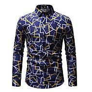 Муж. С принтом Рубашка Хлопок Классический Полоски / Контрастных цветов Синий XL / Длинный рукав