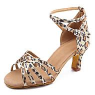 Per donna Scarpe per balli latini / Scarpe per salsa Raso Tacco alto / Sandali Fibbia Tacco su misura Personalizzabile Scarpe da ballo Leopardo / Al coperto / Di pelle / Da allenamento