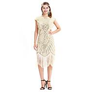 Great Gatsby Retro / vintage Jaren '20 Kostuum Dames Jurken Lolita Beige / Gouden + Black Vintage Cosplay Lovertje  Feest Schoolfeest Mouwloos Mouwloos V-Wire Midi