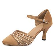 billige Moderne sko-Dame Moderne sko Sateng Høye hæler / Joggesko Krystalldetaljer / Glimmer Slim High Heel Kan spesialtilpasses Dansesko Brun