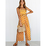 Women's Going out / Work Strap White Navy Blue Yellow Wide Leg Jumpsuit, Polka Dot M L XL Sleeveless