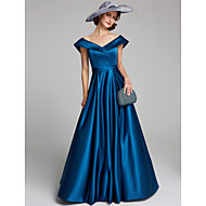 cheap -A-Line V Neck Floor Length Satin Mother of the Bride Dress with Sash / Ribbon / Ruching by LAN TING BRIDE®
