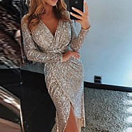 cheap -Women's 2019 Party / Cocktail / New Year Eve / Festival Sexy Asymmetrical Slim Bodycon Dress Sequins / Wrap / Glitter High Waist V Neck Purple Green Champagne L XL XXL