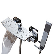 billige Rabatt Kraner-Badekarskran - Moderne Krom Badekar Og Dusj Keramisk Ventil Bath Shower Mixer Taps / To Håndtak to hull