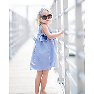 토들러 여아 활동적 / 단 일상 / 데이트 블루 & 화이트 줄무늬 리본 / 주름장식 민소매 무릎길이 면 드레스 푸른